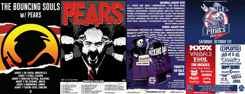 PEARS Summer Tour 2016 with Bouncing Souls & More!