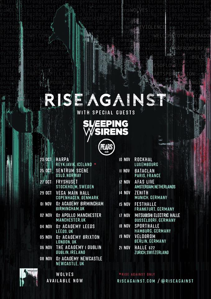 Rise Against, Sleeping w/ Sirens and PEARS Europe 2017