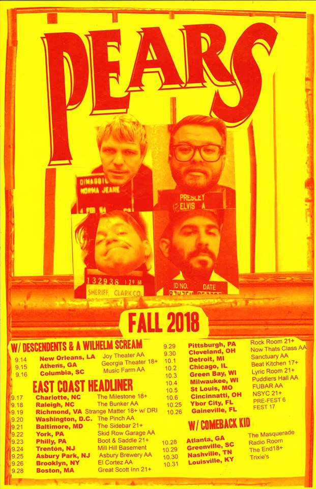 PEARS US Tour Fall 2018 Descendents A Wilhelm Scream D.R.I. Comeback Kid